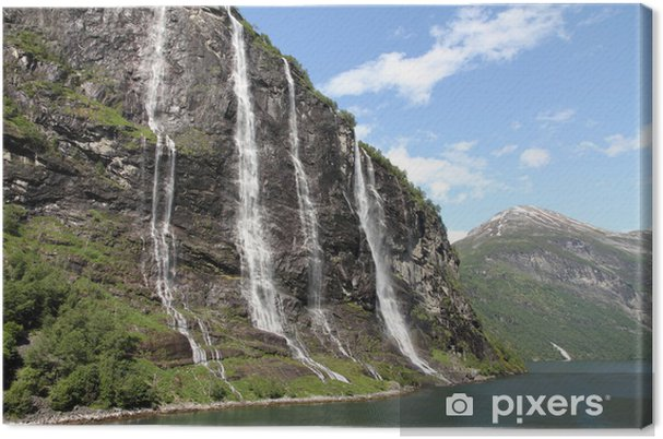 The seven sisters waterfall, Geiranger Fjord, Hellesylt Norway Canvas Print - Themes