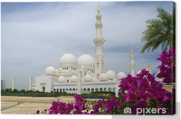 The United Arab Emirates. Abu Dhabi. White mosque. Canvas Print - Asia