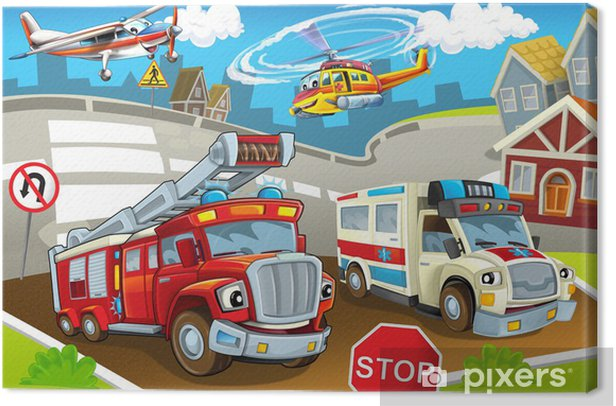 The vehicles in city, urban chaos Canvas Print - Destinations