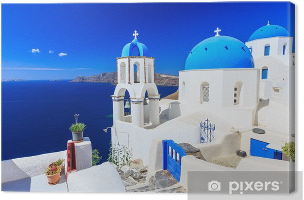 The village of Oia in Santorini, Greece Canvas Print - Themes