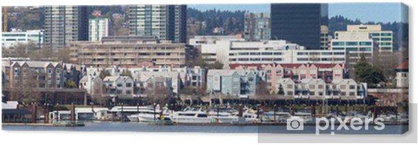 The waterfront marina panorama, Portland Oregon. Canvas Print - America