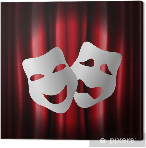 Theater masks with red curtain Canvas Print - Textures