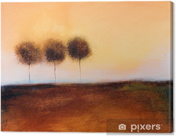 this is an abstract painting of 3 trees Canvas Print - Styles