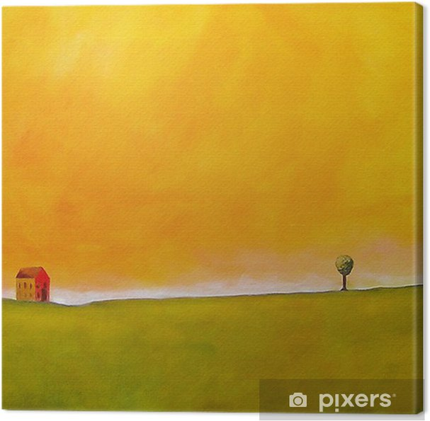 this is an abstract painting of a farm scene Canvas Print - Styles