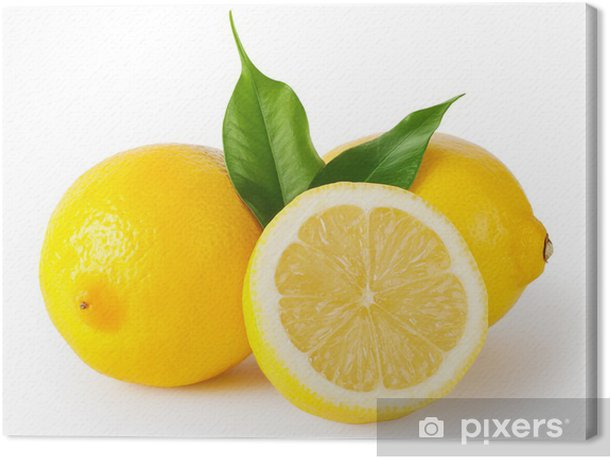 Three lemons with leaves Canvas Print - Wall decals