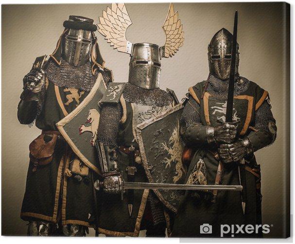 Three medieval knights Canvas Print - Knights