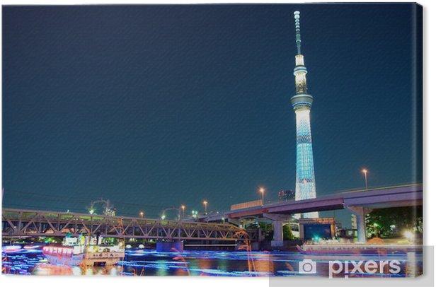 Tokyo skytree blue illumination beside Sumida river Canvas Print - Themes