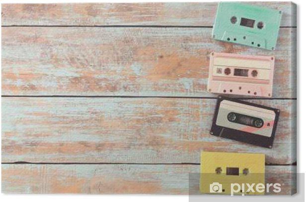 Top view (above) shot of retro tape cassette on wood table - vintage pastel color effect styles Canvas Print - Hobbies and Leisure