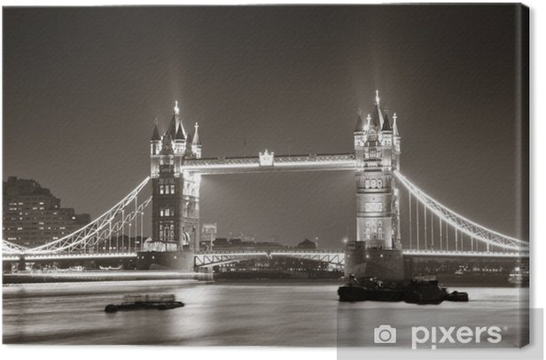 Tower Bridge at night in black and white Canvas Print -