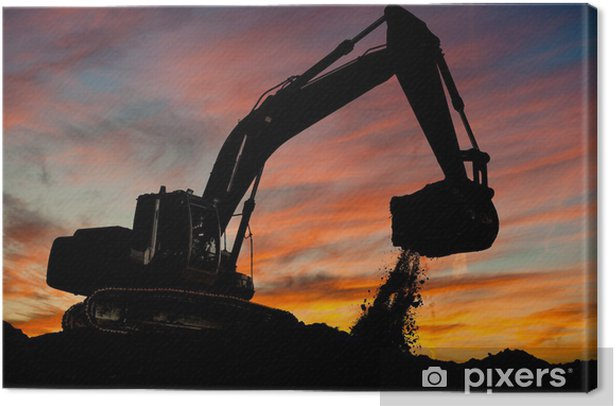 track-type loader excavator at work Canvas Print - Heavy Industry