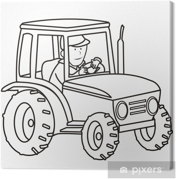 tractor - coloring book Canvas Print • Pixers® • We live to change