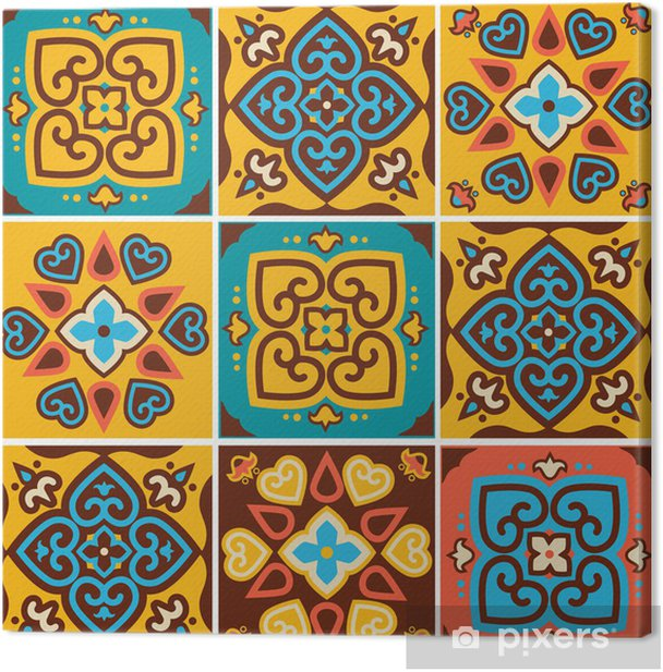Traditional ceramic tiles patterns Canvas Print - Art and Creation