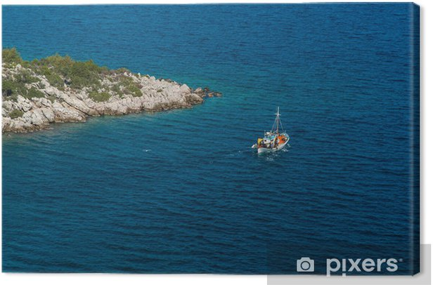 Traditional fishing boat near a promontory in Greece Canvas Print - Europe