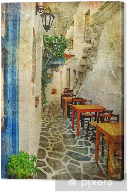 traditional greek tavernas- artistic picture Canvas Print - Themes