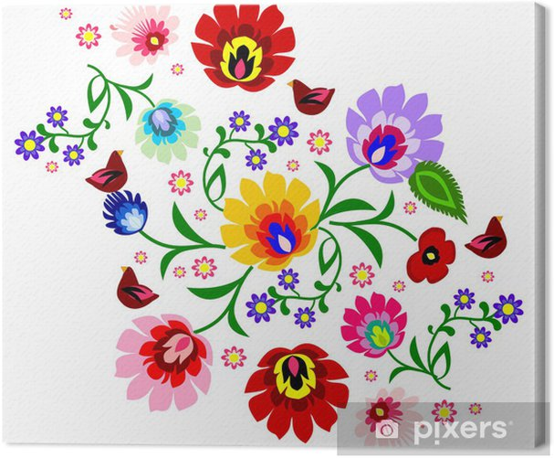 Traditional Polish floral folk pattern vector Canvas Print - Styles