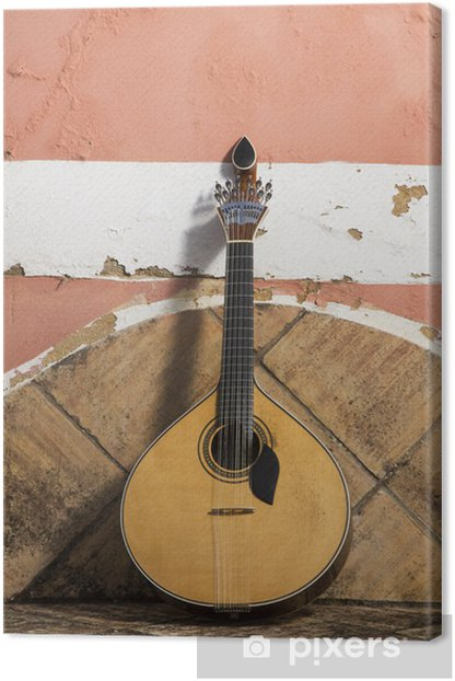 traditional portuguese guitar on a stone bench. Canvas Print - Music