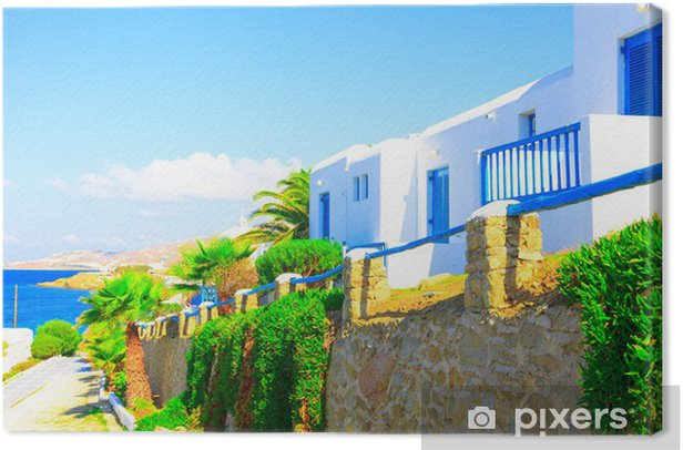 Traditional street view in Mykonos Island Greece Cyclades Canvas Print - European Cities