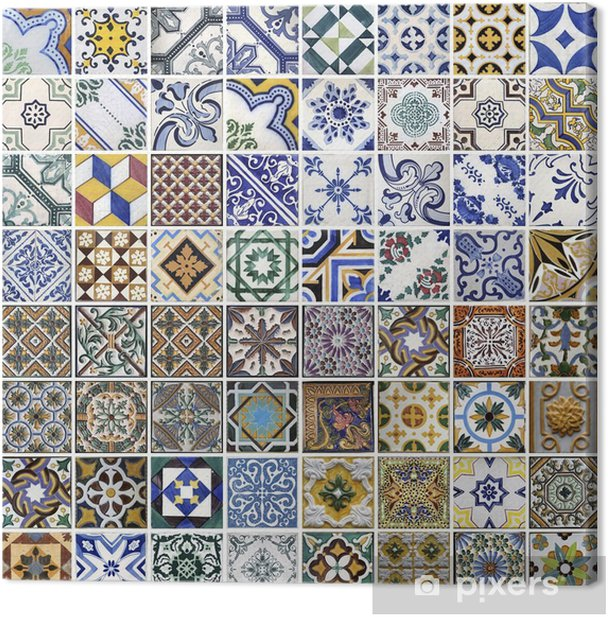 Traditional tiles from Porto, Portugal Canvas Print - Themes