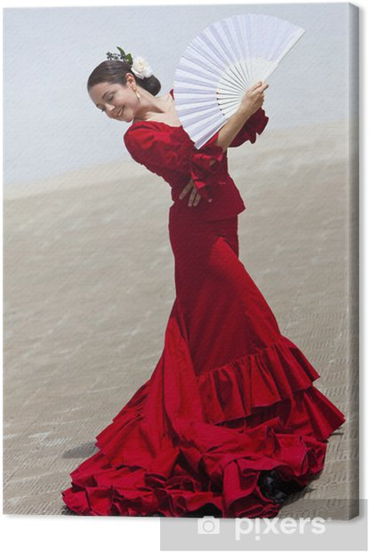 Traditional Woman Spanish Flamenco Dancer In Red Dress With Fan Canvas Print - Spain
