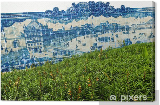 Traditionelle Azulejos in Lissbon, Portugal Canvas Print - European Cities