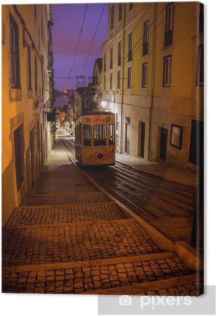 tram in an alley night Canvas Print - European Cities