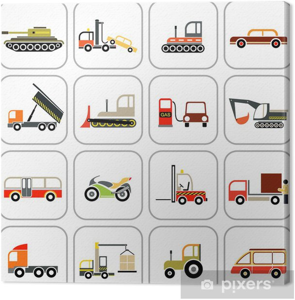 Transport icons Canvas Print - Heavy Industry