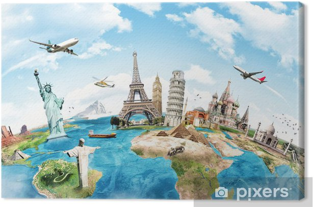 Travel the world monument concept Canvas Print -