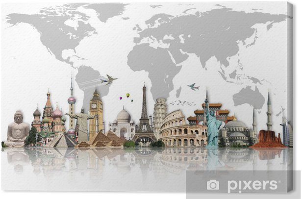 Travel the world monuments concept Canvas Print - Living room