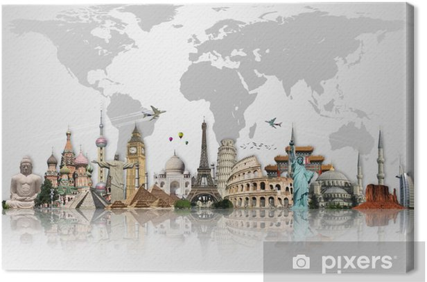 Travel the world monuments concept Canvas Print - iStaging