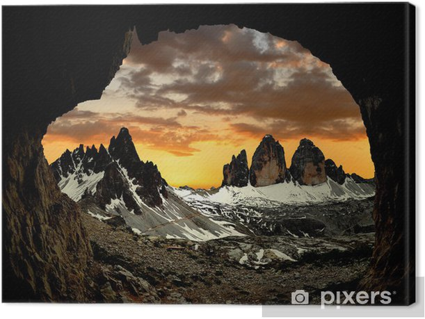 Tre cime di Lavaredo with Paternkofel at sunset, Italy Canvas Print - Europe