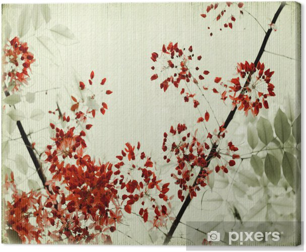 Tree Blossom on Antique Bamboo Background Canvas Print - Backgrounds