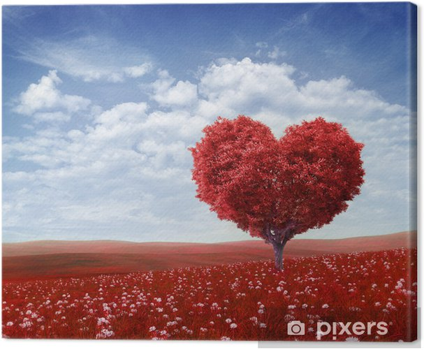 Tree in the shape of heart, valentines day background, Canvas Print - Happiness