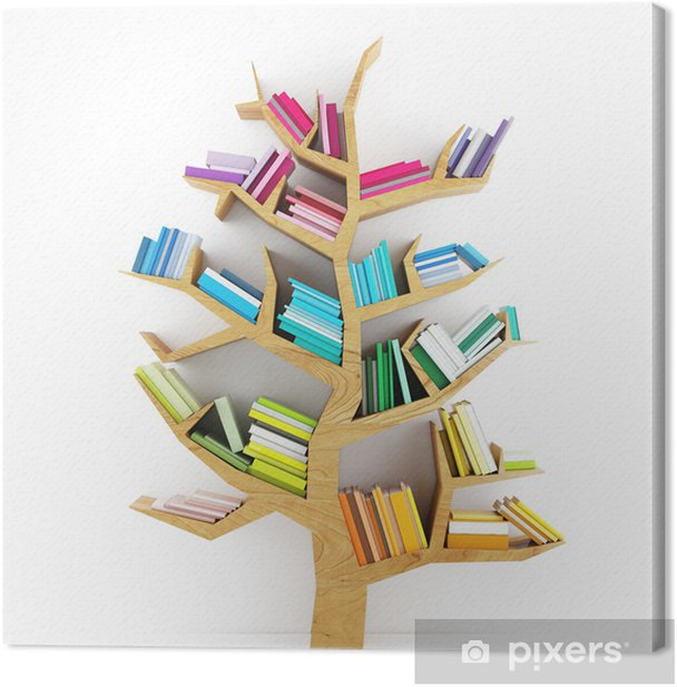 Tree of Knowledge, Wooden Shelf with Multicolor Books Isolated Canvas Print - iStaging