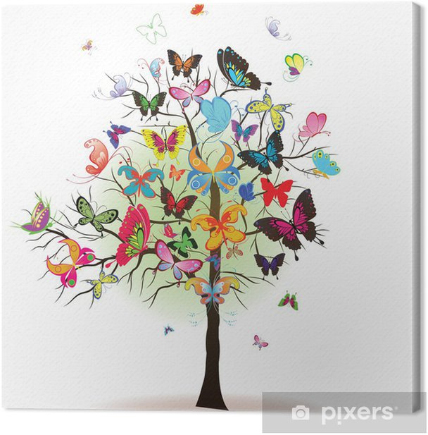 Tree with butterfly, element for design, vector illustration Canvas Print - Seasons