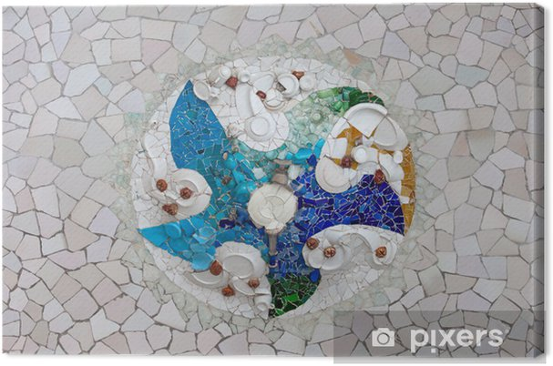 Trencadis trencadis mosaic in park guell in barcelona canvas print • pixers