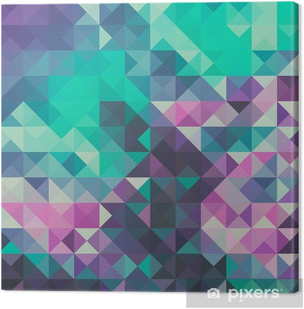 Triangle background, green and violet Canvas Print - Graphic Resources