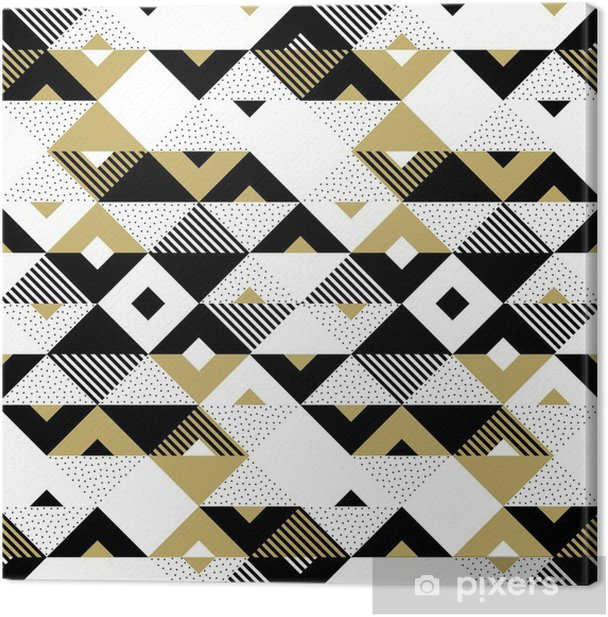 Triangle Geometric Abstract Golden Seamless Pattern Vector Background Of Black White And Gold Triangular Pattern Or Square Swatch Ornament Texture