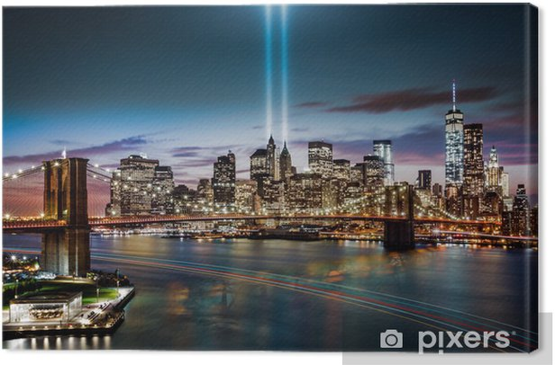 Tribute in Light memorial on September 11, 2014 Canvas Print - Themes