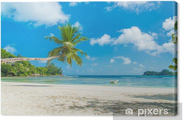 Tropical beach Baie Lazare with boat, Mahe island, Seychelles Canvas Print - Holidays