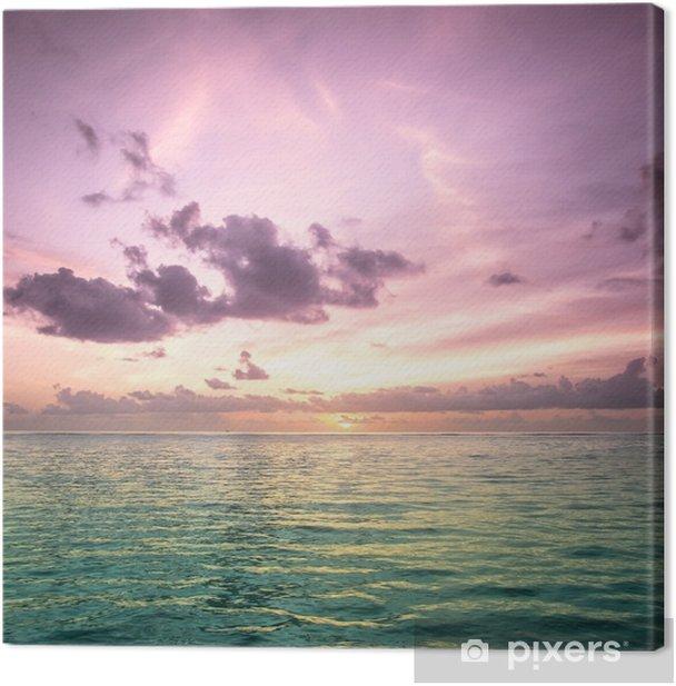 Tropical blue sea water in Maldives Canvas Print - Beach and tropics