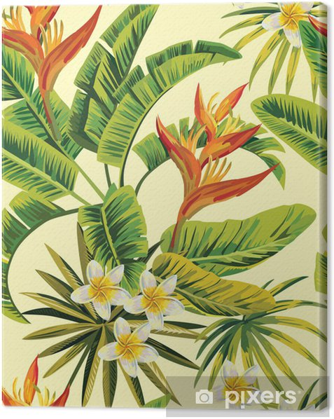 tropical exotic flowers and plants pattern Canvas Print - Restaurant