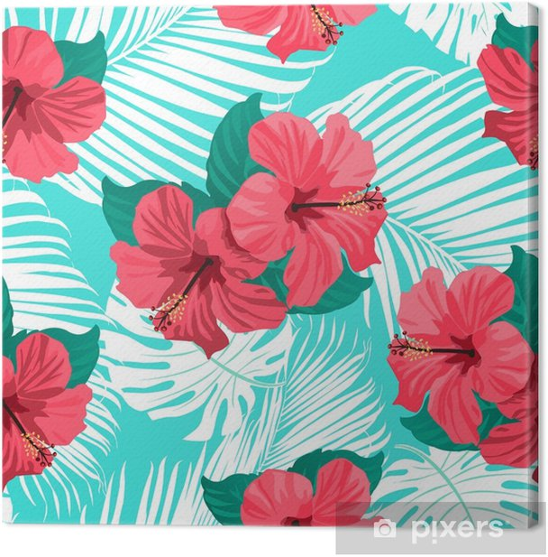 Tropical flowers and palm leaves on background. Seamless. Vector pattern. Canvas Print - Plants and Flowers