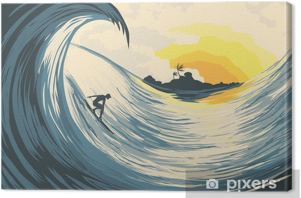 Tropical island wave and surfer Canvas Print - Holidays