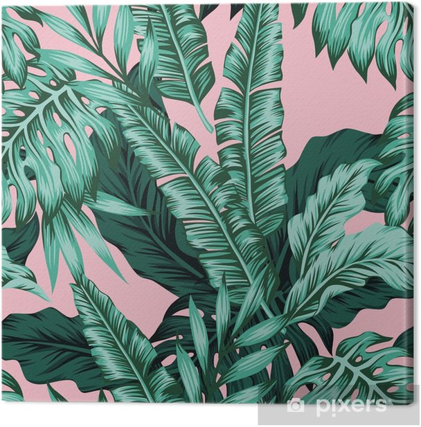 Tropical Leaves Green Seamless Pink Background Canvas Print Pixers We Live To Change Browse our selection of tropical leaves art prints and find the perfect design for you—created by our community of independent artists. canvas print tropical leaves green seamless pink background