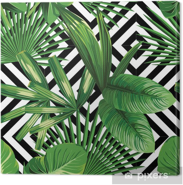 tropical palm leaves pattern, geometric background Canvas Print - Canvas Prints Sold