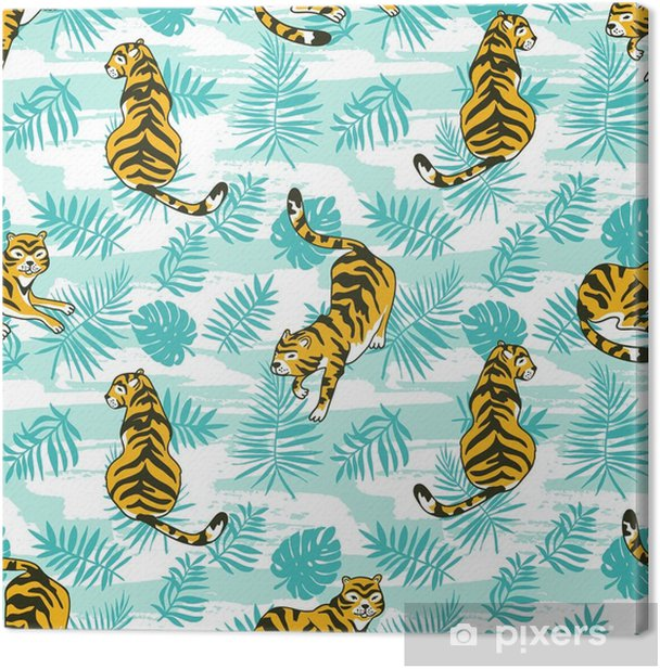 Tropical Seamless Pattern With Tigers And Palm Leaves Vector Animalistic Design For Fabric Wrap Paper Or Wallpaper Exotic Art Background Canvas Print Pixers We Live To Change Find the perfect tropical leaf pattern stock illustrations from getty images. pixers