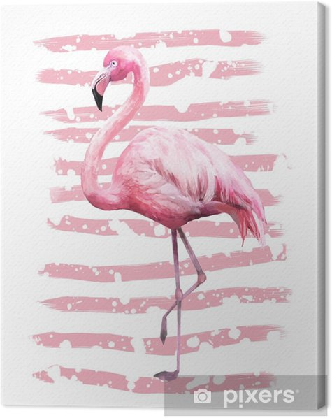 Tropical summer geometric poster design with grunge textures. Watercolor pink bird - flamingo. Exotic Abstract background, vintage. Hand painted illustration. doodles retro Canvas Print - Animals