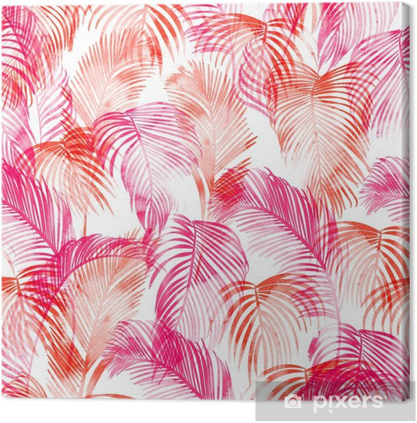 Tropical watercolor pattern. Palm trees and tropical branches in seamless wallpaper on a white background. Digital art. Can be used for manufactory and textiles Canvas Print - Plants and Flowers