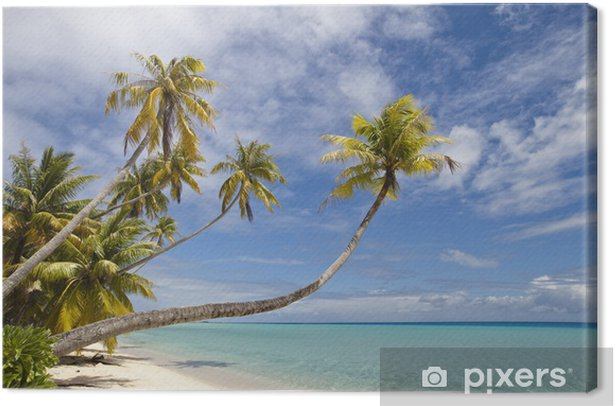 Tropical white sand beach and blue lagoon Canvas Print - Themes