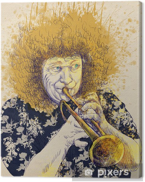 trumpeter, hand drawing, this is original sketch Canvas Print - Jazz